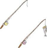 Cartoon Fishing Poles Royalty Free Stock Photos