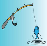 Cartoon fishing rod, hooked fish Stock Photo