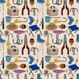 Cartoon Fishing seamless pattern. Drawing Royalty Free Stock Photography