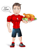 Cartoon Fitness Coach with healthy meal Stock Images