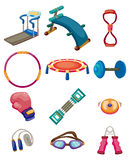 Cartoon Fitness Equipment icons Stock Photography