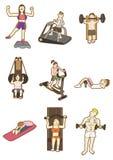Cartoon Fitness icon. Vector drawing Stock Photos