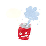 Cartoon fizzing soda can with thought bubble Royalty Free Stock Photos