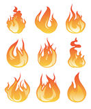 Cartoon flame set. Vector illustration of fire flaming Royalty Free Stock Photography