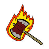 cartoon flaming axe Stock Image
