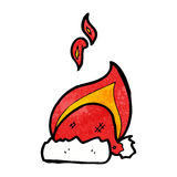 Cartoon flaming christmas hat Royalty Free Stock Images