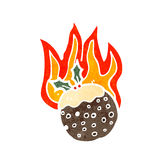 Cartoon flaming christmas pudding Royalty Free Stock Image