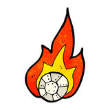 Cartoon flaming football Royalty Free Stock Image