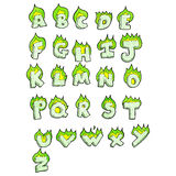 Cartoon flaming green letters alphabet Royalty Free Stock Image
