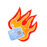 Cartoon flaming ID badge Stock Photos
