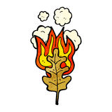 Cartoon flaming leaf Royalty Free Stock Image