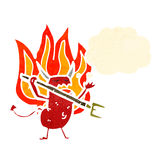 Cartoon flaming little devil Stock Photos