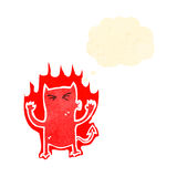 Cartoon flaming little devil Stock Images