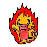 Cartoon flaming little imp Royalty Free Stock Images