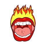 Cartoon flaming mouth symbol Royalty Free Stock Photography