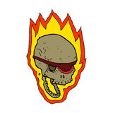 Cartoon flaming pirate skull Royalty Free Stock Photos