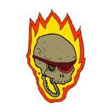 Cartoon flaming pirate skull. Hand drawn cartoon illustration in retro style.  Vector available Royalty Free Stock Photos