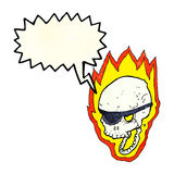 Cartoon flaming pirate skull with speech bubble Stock Photo