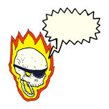 Cartoon flaming pirate skull with speech bubble Royalty Free Stock Photos