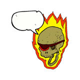 Cartoon flaming pirate skull with speech bubble Royalty Free Stock Photography