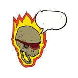 cartoon flaming pirate skull with speech bubble Royalty Free Stock Image