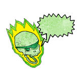 Cartoon flaming pirate skull with speech bubble Royalty Free Stock Photo