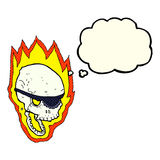 Cartoon flaming pirate skull with thought bubble Royalty Free Stock Photo