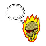 cartoon flaming pirate skull with thought bubble Royalty Free Stock Photos