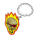 cartoon flaming pirate skull with thought bubble Stock Images