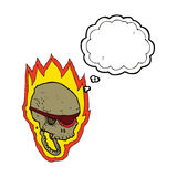 Cartoon flaming pirate skull with thought bubble Stock Photography
