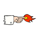 Cartoon flaming pointing finger symbol Royalty Free Stock Photography