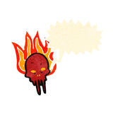 Cartoon flaming skull. Retro cartoon with texture. Isolated on White Stock Photo