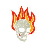 Cartoon flaming skull. Retro cartoon with texture. Isolated on White Stock Image
