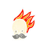 Cartoon flaming skull. Retro cartoon with texture. Isolated on White Royalty Free Stock Images