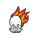 Cartoon flaming skull. Retro cartoon with texture. Isolated on White Royalty Free Stock Photography