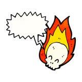 Cartoon flaming skull. Retro cartoon with texture. Isolated on White Royalty Free Stock Photos