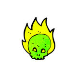Cartoon flaming skull. Retro cartoon with texture. Isolated on White Stock Photos