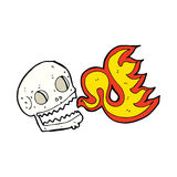 Cartoon flaming skull Stock Images
