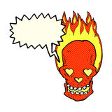 Cartoon flaming skull with love heart eyes with speech bubble Royalty Free Stock Images