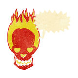 Cartoon flaming skull with love heart eyes with speech bubble Stock Photo