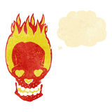 Cartoon flaming skull with love heart eyes with thought bubble Royalty Free Stock Photos