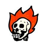 Cartoon flaming skull. Retro cartoon with texture. Isolated on White Royalty Free Stock Photo