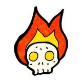 Cartoon flaming skull. Retro cartoon with texture. Isolated on White Royalty Free Stock Image