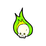 Cartoon flaming skull. Retro cartoon with texture. Isolated on White Stock Images