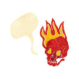 Cartoon flaming skull with speech bubble Stock Image