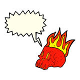Cartoon flaming skull with speech bubble Royalty Free Stock Photos
