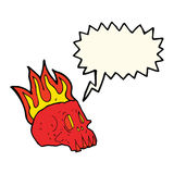 Cartoon flaming skull with speech bubble Stock Photo