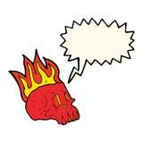 Cartoon flaming skull with speech bubble Stock Photo