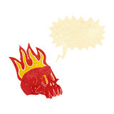 Cartoon flaming skull with speech bubble Stock Photography