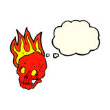 Cartoon flaming skull with thought bubble Royalty Free Stock Image